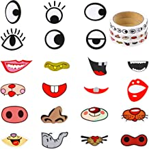 Outus 3 Rolls Eye Stickers Colorful Eye Nose Mouth Cartoon Stickers Eyeball Stickers Labels for Children Art Craft DIY Party Decor Scrapbook Water Bottle (Style A)