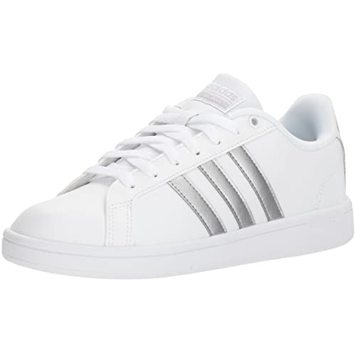 adidas white shoes with silver stripes