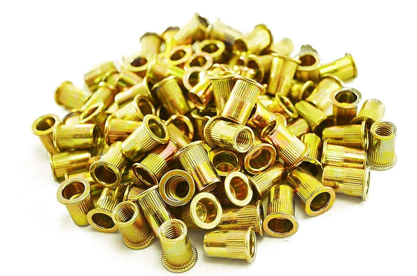 Liyafy 100Pcs Pneumatic Tool Pull Nut Steel Rivet Nuts M10 X 21 (Carbon Steel/Color zinc)