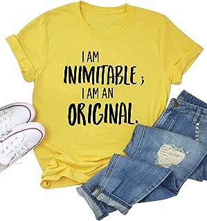 ZJP Women Casual T-Shirt I AM INIMITABLE; I AM an Original.Letter Print Tee Tops
