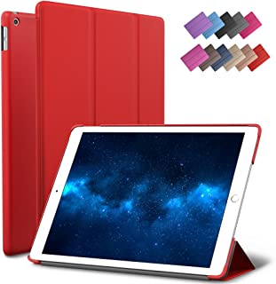 New iPad 9.7-inch 2018 2017 Case, ROARTZ Red Slim-Fit Smart Rubber Folio Case Hard Cover Light-Weight Wake Sleep for Apple iPad 5th 6th Generation Retina Model A1893 A1954 A1822 A1823