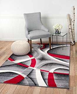 Summit YY-ZA15-Q3BT ST34 Area Rug Black Red Gray Modern Abstract Many Aprx Sizes Available (3'.8'' X 5'), 4 X 5 ACTUAL IS 3'.8'' X 5'