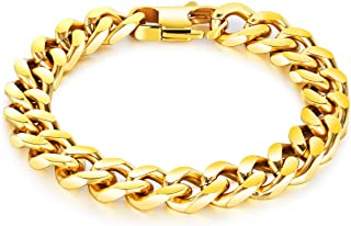 LineAve Men's Stainless Steel 10mm Wide Curb Chain Bracelet, 7-8.5 Inches