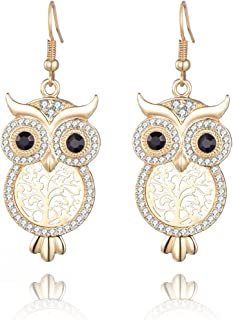 Dangle Earring for Women,Lucky Owl Drop Earring Rose Gold or Silver Anti-allergy Earring with CZ Crystal