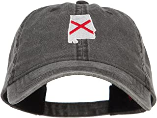 e4Hats.com Alabama State Flag Map Embroidered Washed Cap