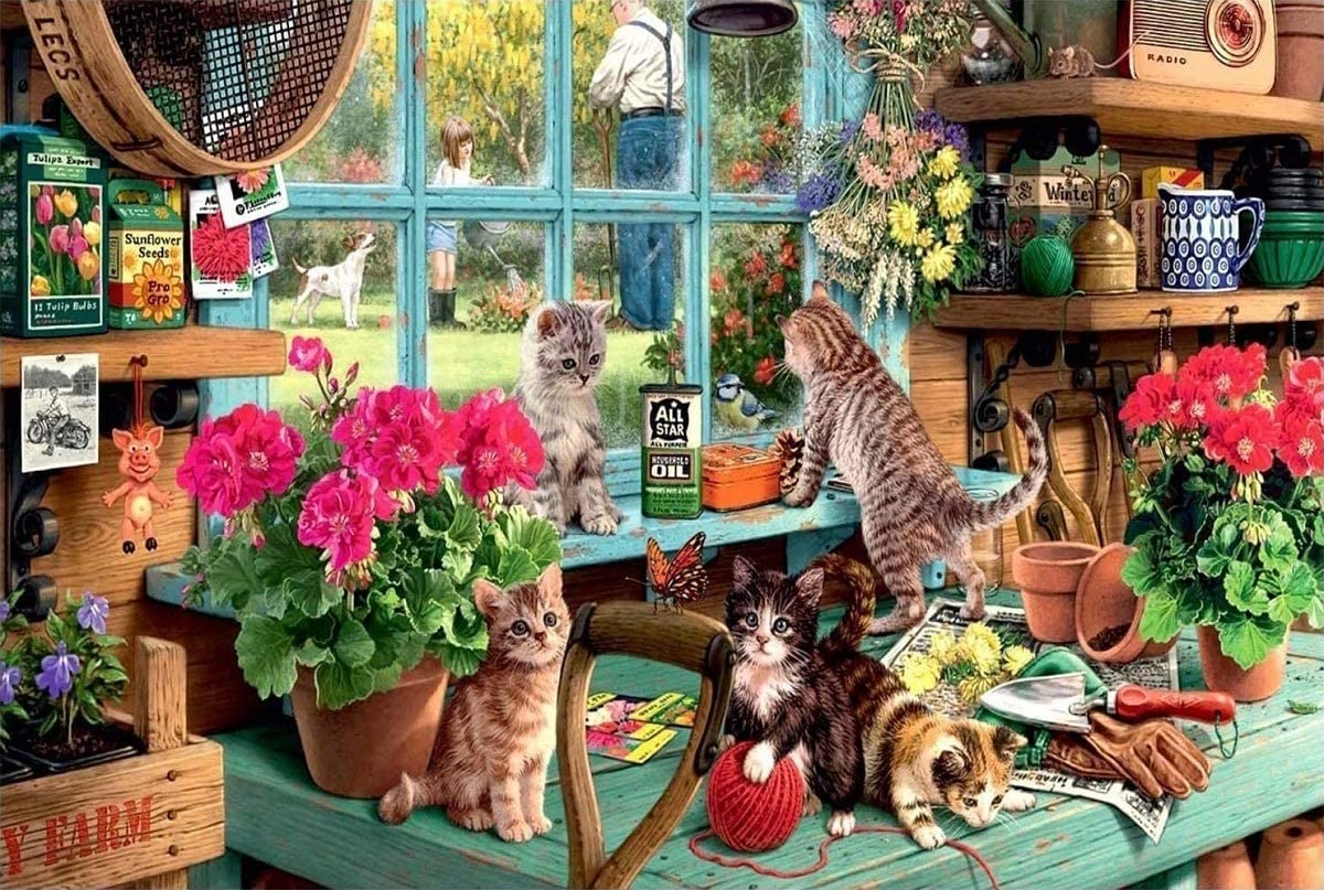 1000 Piece Jigsaw Puzzle Educational Puzzle Family Game Gift for Adults and Kids Window Sill Cat