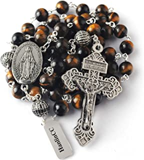 HanlinCC 8mm Tiger Eyes Beads with 10mm Metal Our Father Beads Rosary with Miraculous Center Piece and Cross with Leather Gift Box