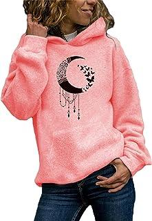 Xmiral Kapuzenpullover Damen Katze & Muster Gedruckt Hoodies Sweatshirt Beiläufig Pullover mit Taschen