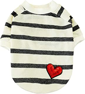 Shimigy Fashion Pet Black and White Stripes Shirt Love Print Cat Dog Clothing