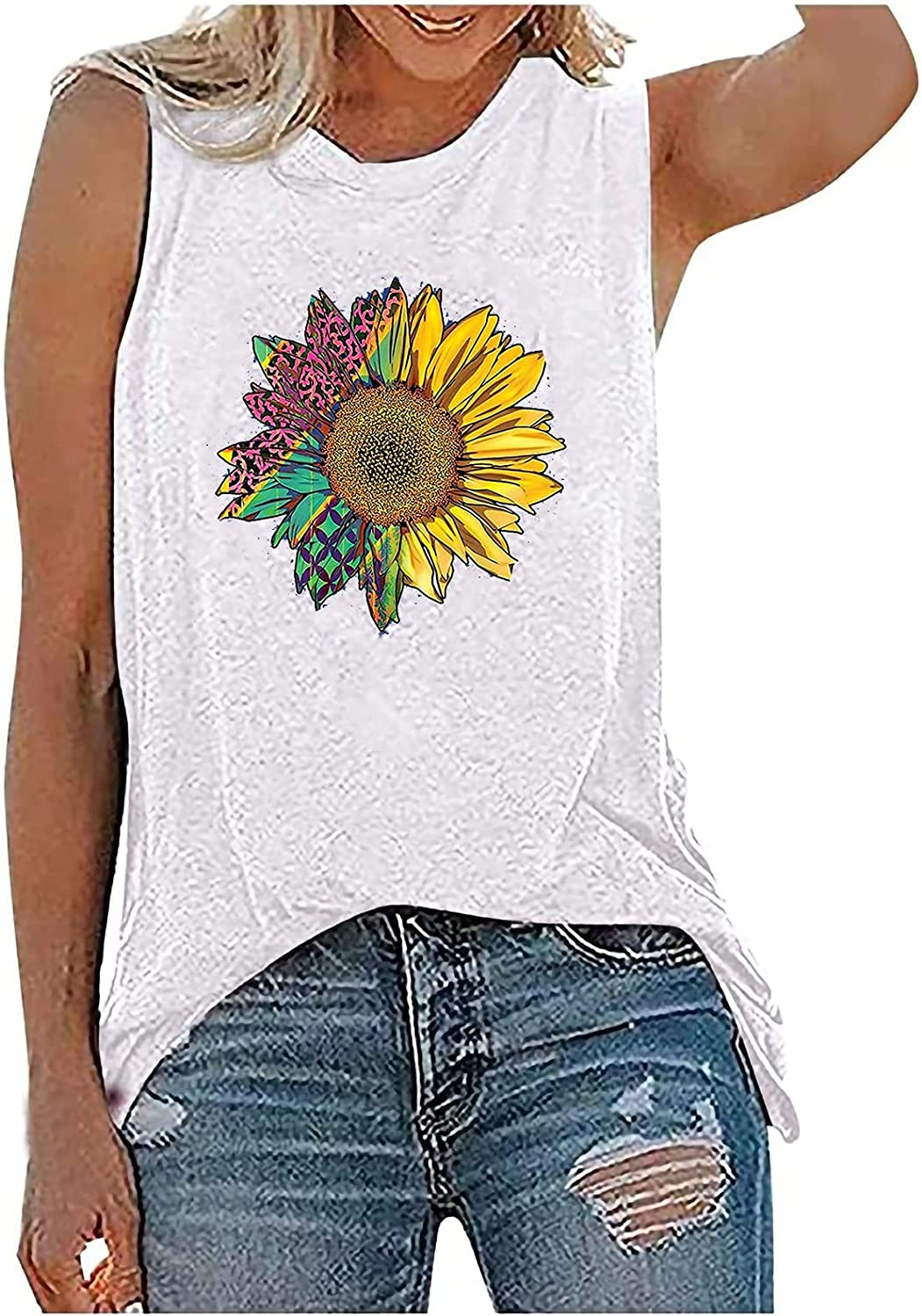 Graphic Tank Tops for Women, Womens Summer Funny Dandelion Printed Vest Tops Casual Loose Fit Sleeveless Tee Shirts