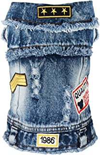 SILD Pet Clothes Dog Jeans Jacket Cool Blue Denim Coat Medium Small Dogs Lapel Vests Classic Hoodies Puppy Blue Vintage Washed Clothes