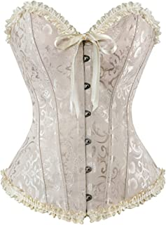 8b3148f537 HLGO Lady s Flower Pattern Back Lace Up Adjustable Corset Sexy Bustier for  Womens