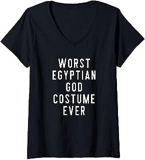 Womens Couples Halloween Costume Worst Egyptian God Costume Ever V-Neck T-Shirt