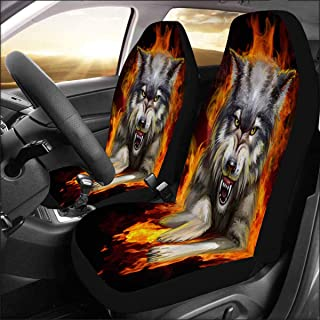INTERESTPRINT Universal Fit Custom Wolf Protector Two Front Car Seat Covers Set -100% Breathable