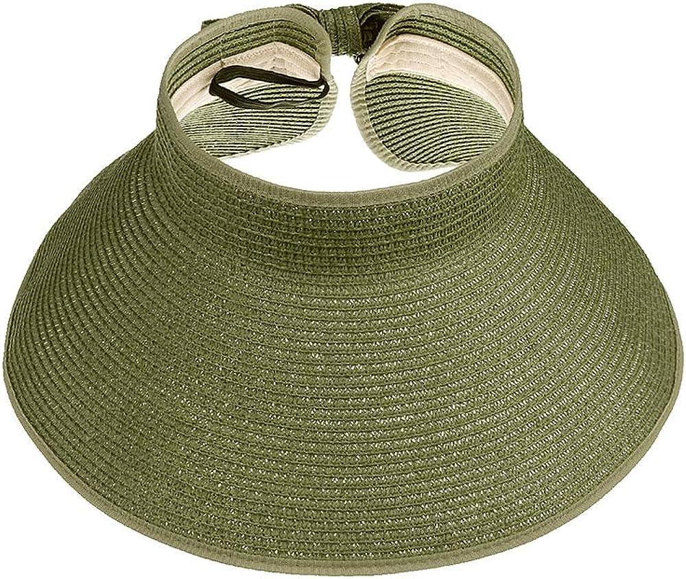 Womens Summer Foldable Straw Sun Visor Hat Wide Brim Roll Up Beach Hat Cap Sun Hats with Bow