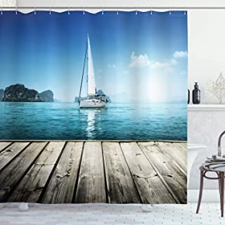 Ambesonne Nautical Shower Curtain, Yacht from Wooden Deck Horizon Serenity Seascape Leisure Aquatic Coastal Theme, Cloth Fabric Bathroom Decor Set with Hooks, 70