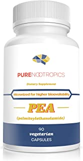 Pure Nootropics - Palmitoylethanolamide (Micronized Pea) 400 mg Capsules | 90 Veg Caps Value Pack | Pain Relief Supplement...