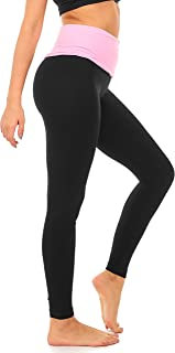 DEAR SPARKLE Fold Over Yoga Pants for Women Cotton Leggings Foldover High Waist Leggings Plus Size (C6 F)