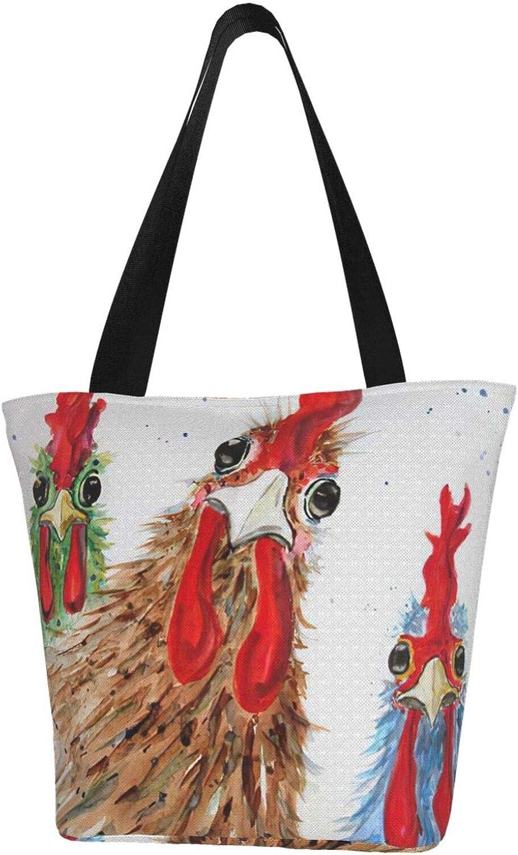 Cock Funny Animal Themed Printed Women Canvas Handbag Zipper Shoulder Bag Work Booksbag Tote Purse Leisure Hobo Bag For Shopping