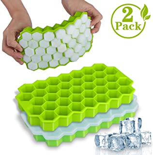 Ice Cube Trays, WETONG 2 Pack Silicone Ice Cube Molds with Lid Flexible 74-Ice Trays BPA Free, for Whiskey, Cocktail, Stackable Flexible Safe Ice Cube Molds