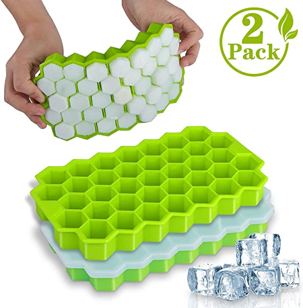 Ice Cube Trays WETONG 2 Pack Silicone Ice Cube Molds With Lid Flexible 74 Ice Trays BPA Free For Whiskey Cocktail Stackable Flexible Safe Ice Cube Molds