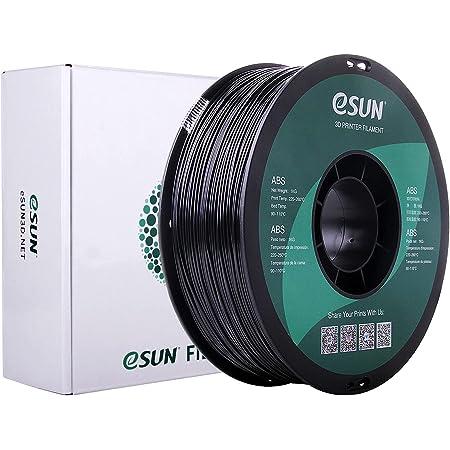 eSUN ABS 3Dプリンターフィラメント1.75 mm、寸法精度 +/- 0.05mm、 3Dプリンター用 1KGスプール造形材料 (黒)