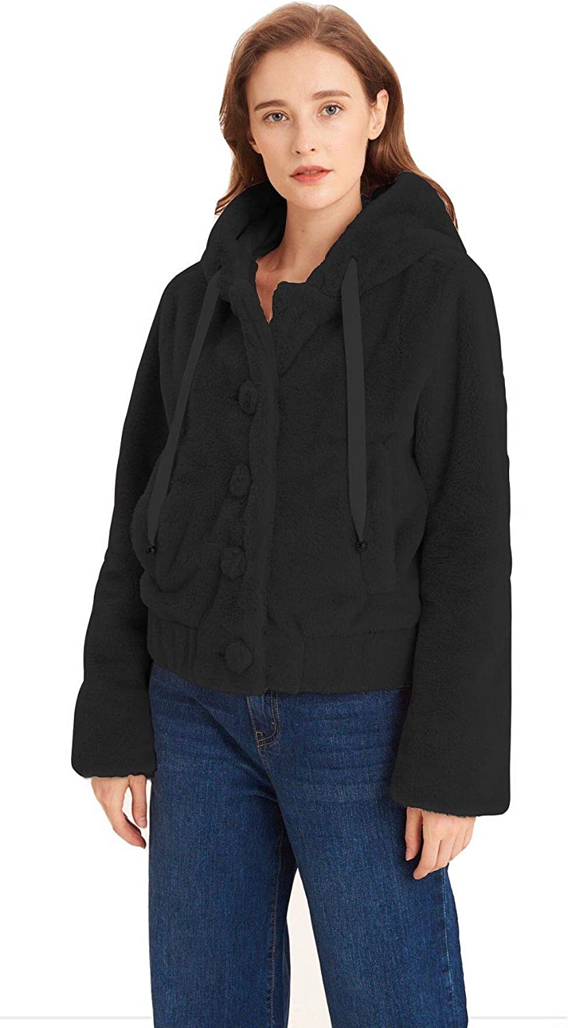 Womens Faux Fur Coat Casual Fuzzy Jacket with Hood Cardigans Outwear with 2 Side-Seam Pockets
