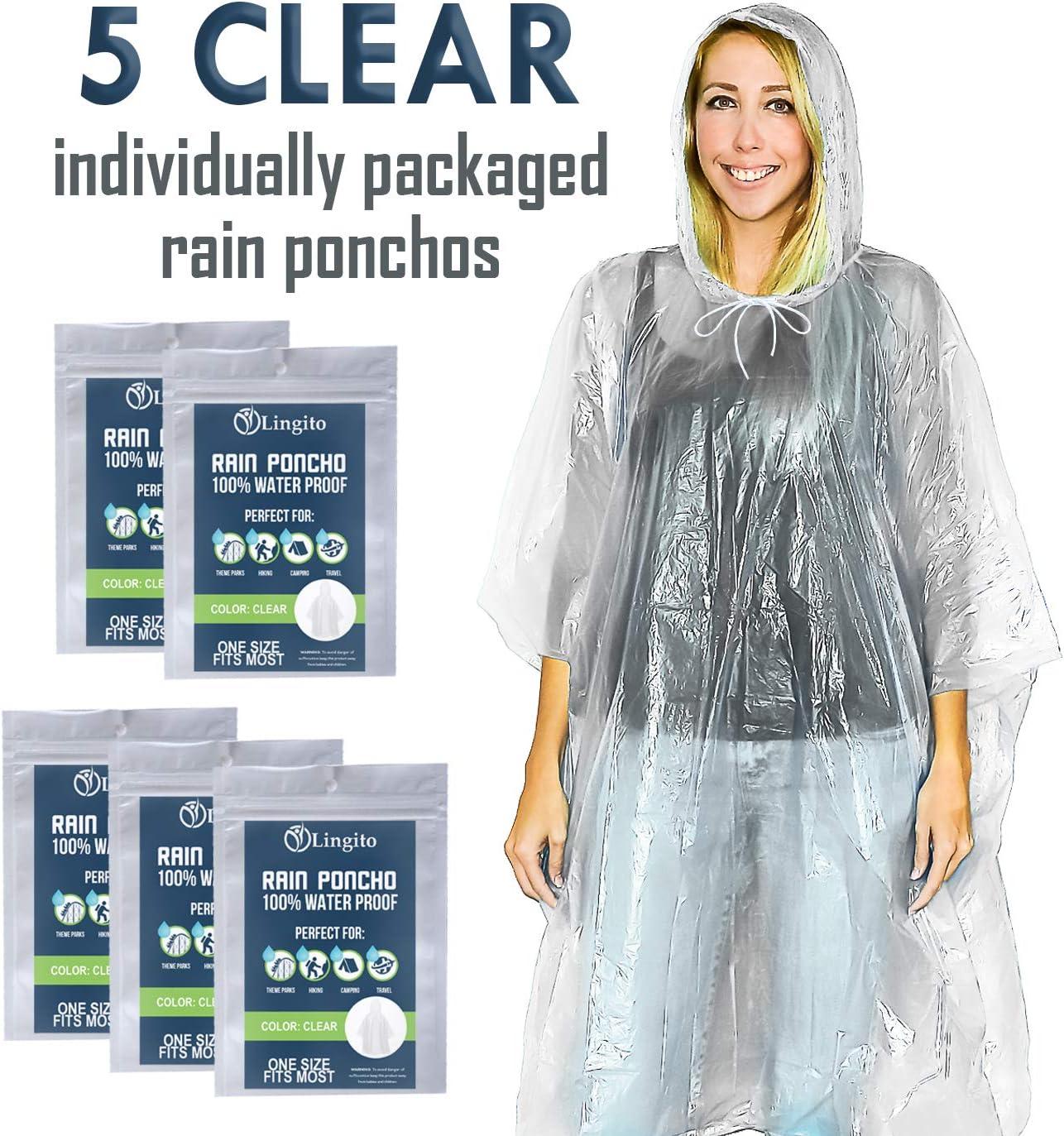 Lingito 15 Pack or 5 Pack Rain Poncho, Disposable Emergency Rain Ponchos