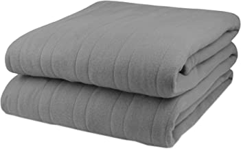 Biddeford Comfort Fleece Electric Heated Warming Blanket Twin Gray Washable 10 Heat Settings