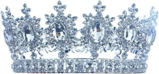 Men's Pageant Imperial Tiara Full Circle Round Silver King Crown T1827