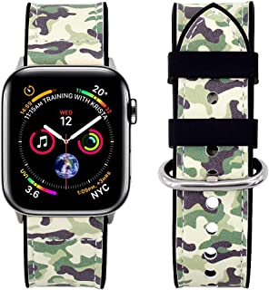 Falandi Compatible Apple Watch Bands 44mm Series 4,Sports Jungle Camo Artificial Leather Black Silicone Replacement Straps Sweatproof iwatch 42mm Series 3/2/1 Men Women(Jungle Camo, 44/42mm)