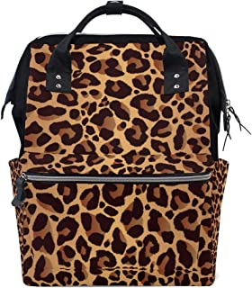TropicalLife Vintage Animal Tiger Leopard Print Diaper Backpack Large Capacity Baby Bags Multi-Function Zipper Casual Travel Backpacks for Mom Dad Unisex