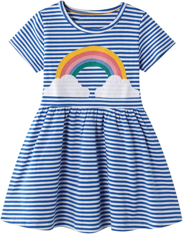 JanJean Toddler Little Girls Summer Short Sleeve Rainbow Appliques Striped Cotton Casual Dress Party Fancy Dress