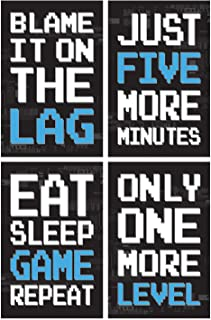 Game Posters, Set of 4, 11x17 Inches, Gaming Artwork, Video Gamer Wall Art, Boys Room Kids Print B1