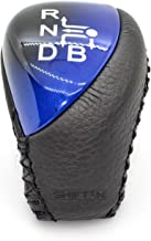 SHIFTIN Black Leather Blue Grain Black Wood Gear Shift Knob for Toyota Auris Prius Plug-in Hybrid (Black Leather/Blue)