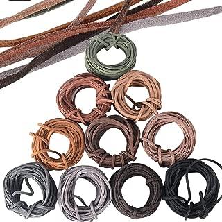 JNCH 3mm x 5m Cuerda de Cuero Gamuza Cordón de Ante para Pulsera Collar Lllavero Fabricación de Bisutería y Abalorios Manualidades Artesanía, 10 Piezas, 10 Colores