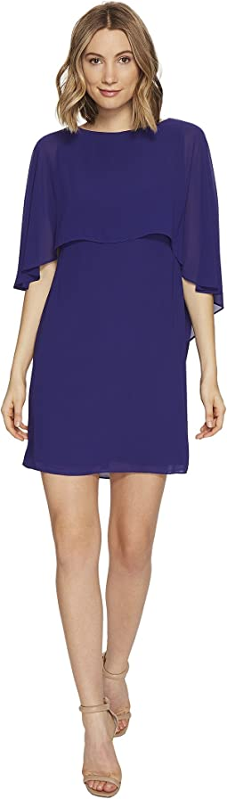 Dress with Bateau Neckline and Cape Back Overlay