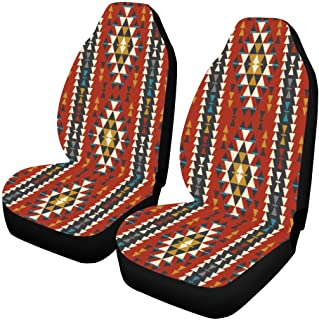 INTERESTPRINT Tribal Ethnic Native American Car Seat Covers Set of 2 Vehicle Seat Protector Car Covers for Auto Cars Sedan SUV
