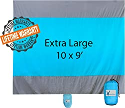 BlueDeer Sand Free Beach Blanket Oversized - Extra Large Beach Mat 10' x 9' for 7 Adults, Lightweight and Easy to Carry - Sand Proof Beach Blanket for Picnics, Travel and Camping