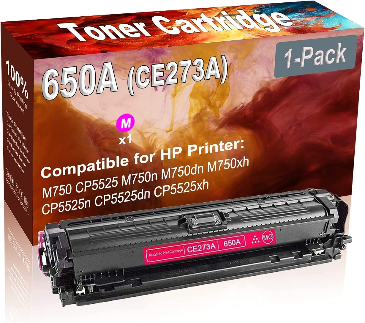 1-Pack (Magenta) Compatible High Yield 650A (CE273A) Printer Toner Cartridge use for HP M750 CP5525 M750n Printers