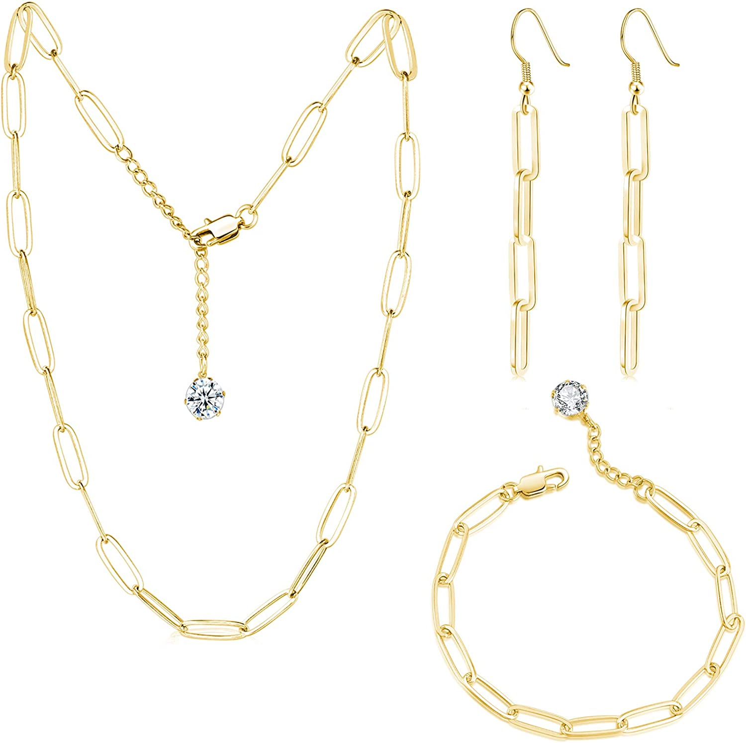 GEMOSA Paperclip Chain Necklace for Women PVD Gold Plating Stainless Steel Diamond 5A+ Cubic Zirconia CZ Thin Link Adjustable Choker and Bracelet Earrings Set Handmade Jewelry Girls Gift