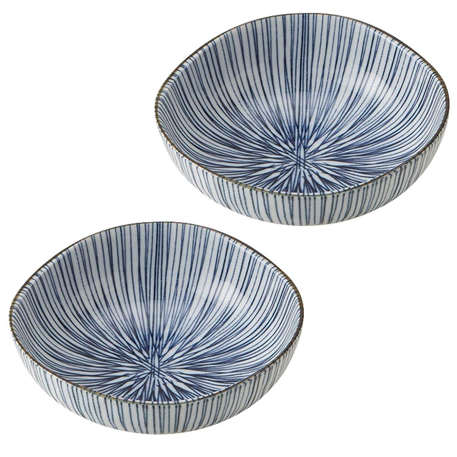 一般宅配便浴みのる陶器 美濃焼 細十草 三角4.5寸鉢 2個セット φ13.7×5cm