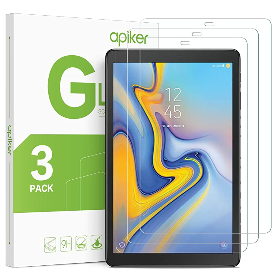 [3 Pack] Galaxy Tab A 10.5 Screen Protector, apiker Tempered Glass Screen Protector for Samsung Galaxy Tab A 10.5 (SM-T590 / SM-T595 / SM-597)