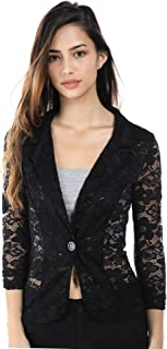 Women's Slim Fit One Button Office Knit Blazer Jacket,Made in USA Except for Striped Jacket (Small-3XL)