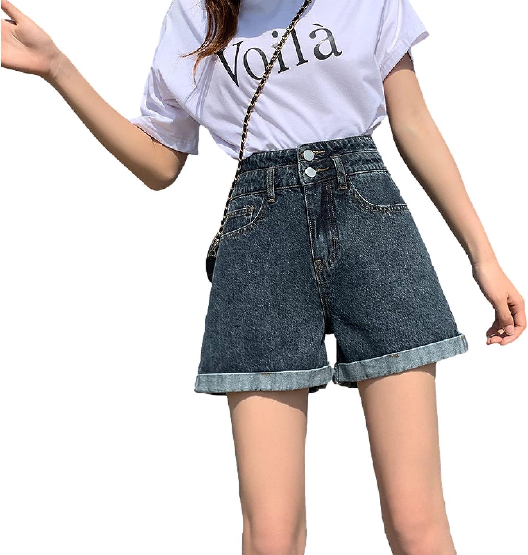 Women's Denim Shorts Fashion High Waist Washing Trend Basic Casual Loose Denim