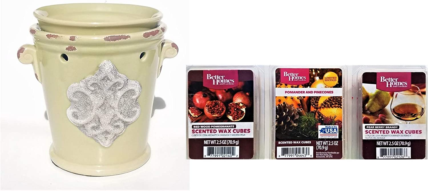 Better Homes & Gardens Distressed Urn Scented Wax Warmer Combo Pack