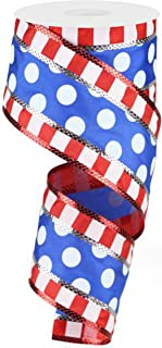 Polka Dots with Stripes Wired Edge Ribbon - 10 Yards (Red, White, Blue, 2.5
