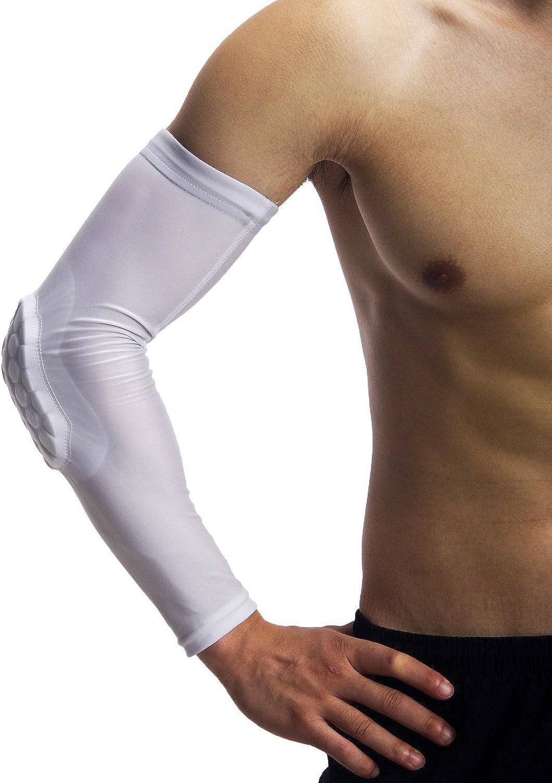 VEME Basketball Honeycomb AntiCollision Arm Guard, Men & Women UV Predection Sun Predective Breathable Compression Elbow Pads 1PCS