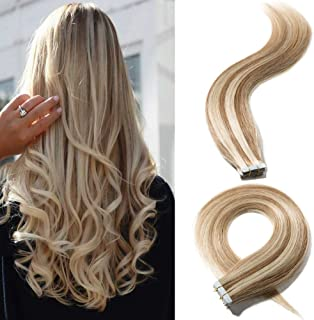 20 Inch 20pcs 30g/pack Tape in Hair Extensions Remy Human Hair Highlight #12/613 Golden Brown Mix Bleach Blonde Long Straight Hair Seamless Skin Weft Invisible Double Sided Tape