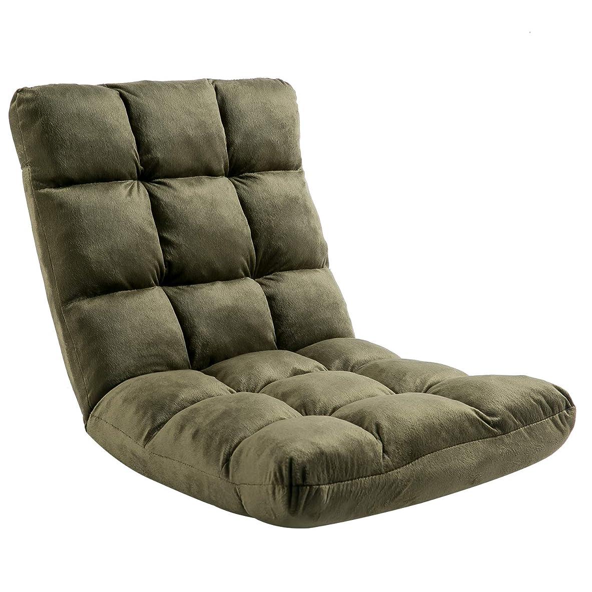年ディーラー長老座椅子 フロアチェア 低反発ウレタン マイクロファイバー ふわふわのクッション採用 フロアソファー 6段階調整可能(Green)50CAA